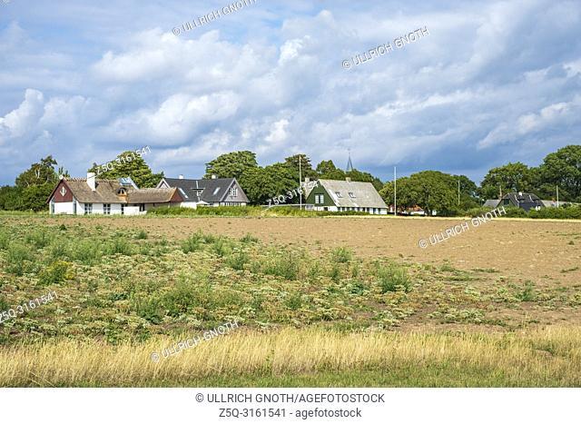 View of the village of Nyord on Nyord Island, Denmark, Scandinavia, Europe. Blick auf das Dorf Nyord auf der Insel Nyord, Dänemark, Skandinavien, Europa