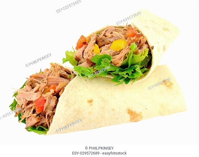 Slow cooked pulled pork and salad filled wraps isolated on a white background