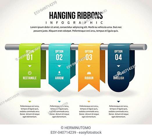 Vector illustration of hanging ribbons infographic design element