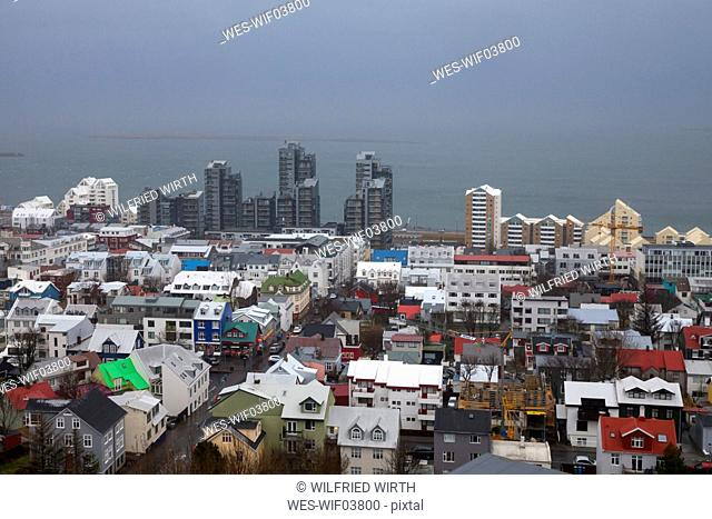 Iceland, Reykjavik, view to the city from Hallgrimskirkja
