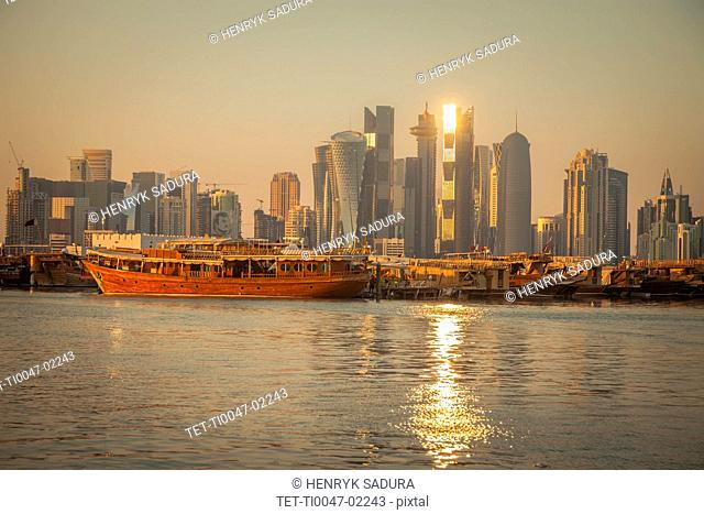 Port by skyline of Doha, Qatar