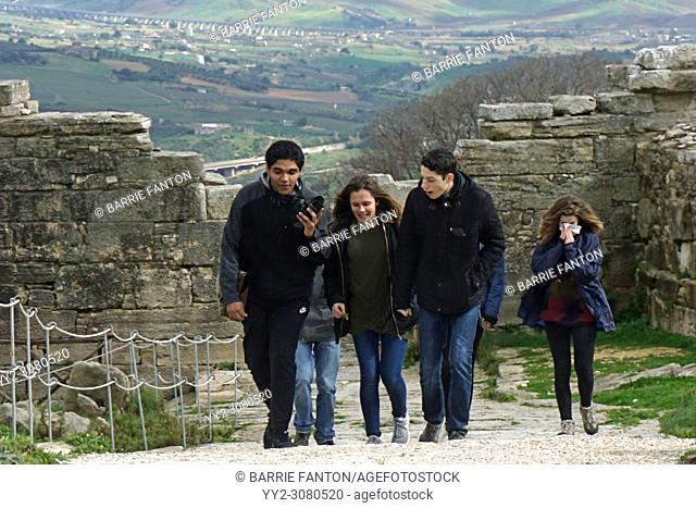 French Teenagers Touring Segesta, Sicily, Italy