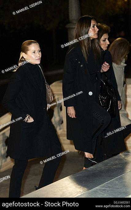 Nati Abascal, Fiona Ferrer attends Placido Arango's Mass Funeral at Los Jeronimos church on March 4, 2020 in Madrid, Spain