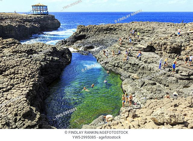 Natural swimming pool in the rocks at Baracona, Sal, Salinas, Cape Verde, Africa