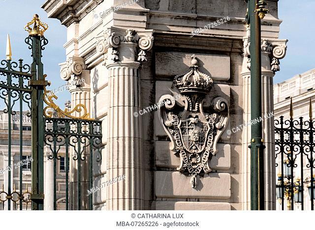 Madrid, Palacio Real, Royal Palace, Plaza de la Armeria, coat of arms