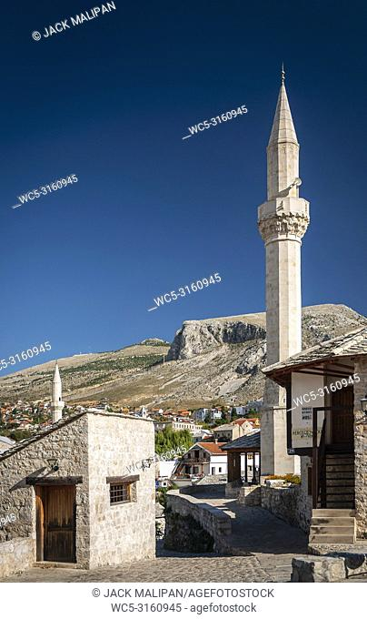 landmark old town houses and mosque view in mostar bosnia