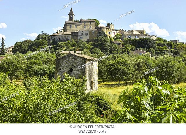 old small village Grillon with orchard and fig tree, Provence, France, department Vaucluse, region Provence-Alpes-Côte d'Azur