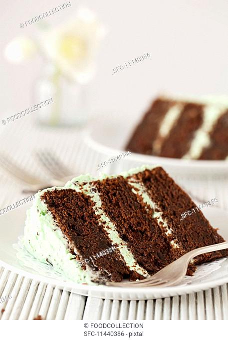 A slice of mint choc-chip layer cake