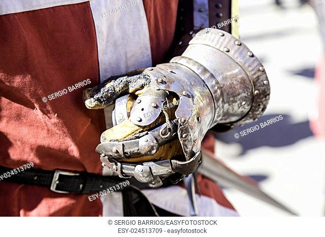 Metal medieval knight glove, protective detail for a gentleman. in Spain