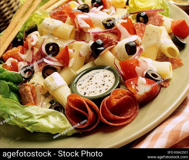 Antipasto Pasta Salad with Parmesan Dressing