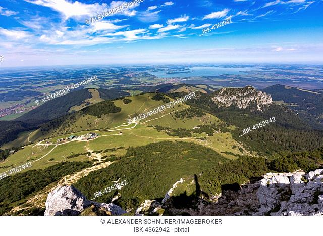 View from the summit of the Kampenwand to Lake Chiemsee, Chiemgau, Bavaria, Germany