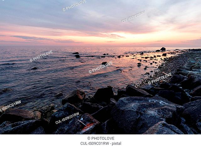 Seascape with rocky beach at sunset, Jasmund National Park, Sassnitz, Rugen, Mecklenburg-Vorpommern, Germany