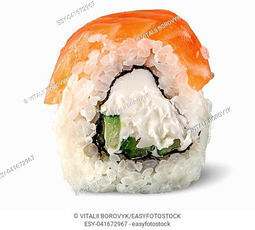 Single piece of sushi roll of Philadelphia isolated on white background