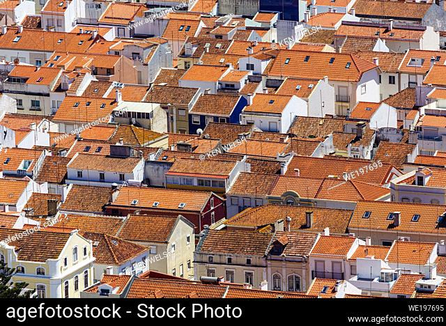 Nazare, Leiria Province, Portugal. View from the Sitio quarter down to rooftops