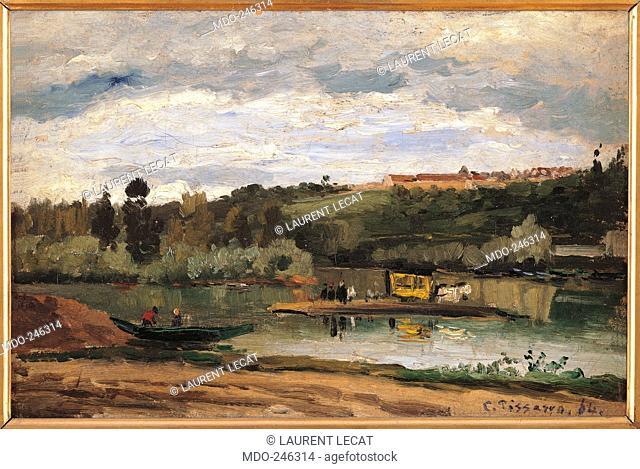 Ferry at Varenne Saint Hilaire, by Camille Pissarro, 1864, 19th Century, canvas, cm 27 x 41. France, Ile de France, Paris, Muse dOrsay, RF1951-38. All