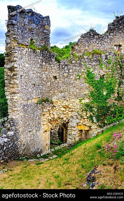 Ruins of an 11th century castle dominate the village of Angles-sur-l'Anglin, Indre, France selected as one of the most beautiful villages in France