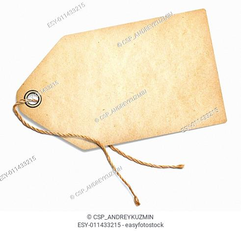 Vintage tag with rope isolated on white