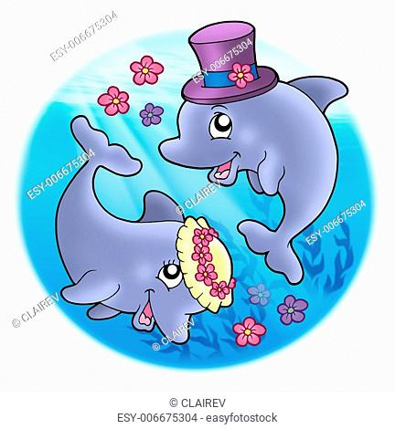 Wedding image with dolphins in sea - color illustration