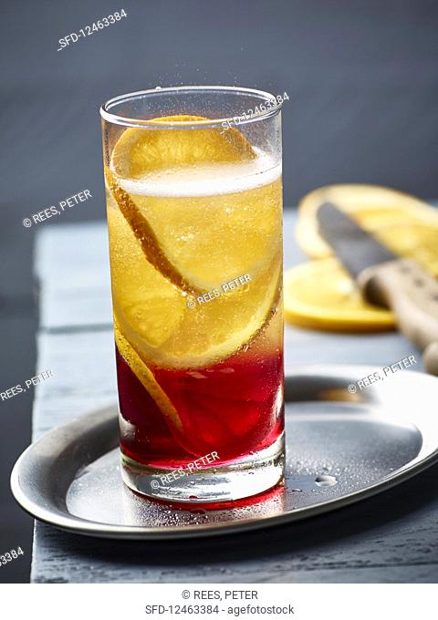 A champagne cocktail with Campari