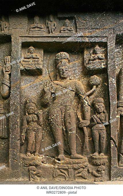 Sculptures of Buddha in Karla caves in 2nd century B.C. , Lonavala , Maharashtra , India