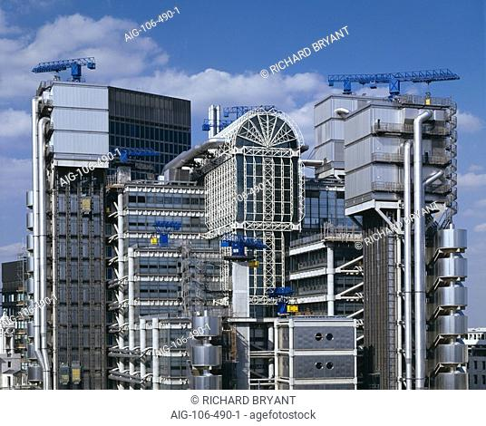 Lloyd's Building, City of London, 1986. The South facade. Architect: Richard Rogers Partnership