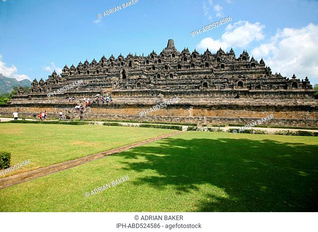 Indonesia Central Java Magelang Borobudur temple dates from the 9th century and is situated on a large plain surrounded by volcanoes