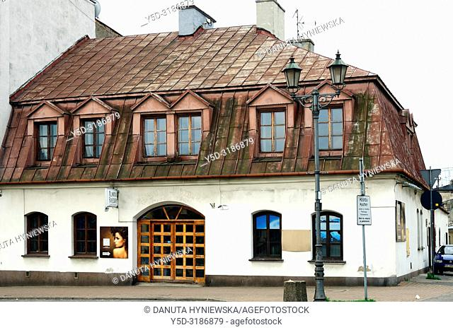 Historic inn, Old market square in old town of Czestochowa, many old conservation buildings rebuilt and maintained by the authorities and private sector