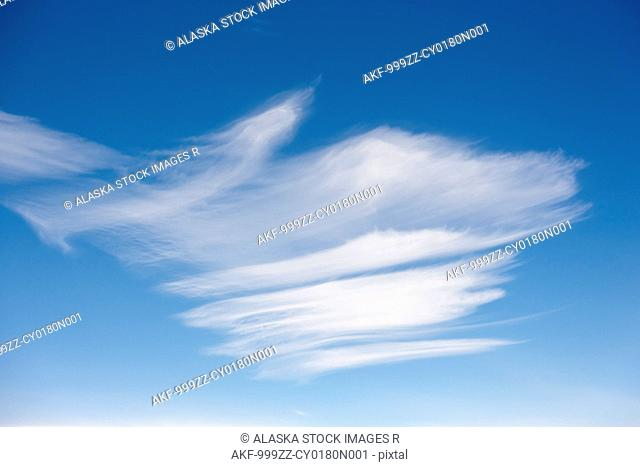 Aerial view of a cloud formation against a blue sky