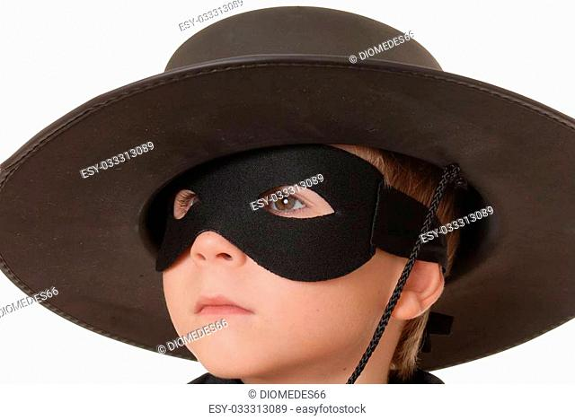 Young boy dressed as Zorro