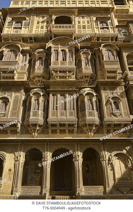 The ornate yellow sandstone carved Patwon Ji Ki Haveli, Jaisalmer, Rajasthan, India