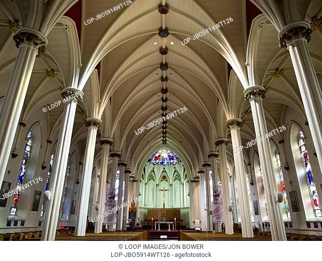 The interior of St Mary's Cathedral Basilica in Halifax in Nova Scotia