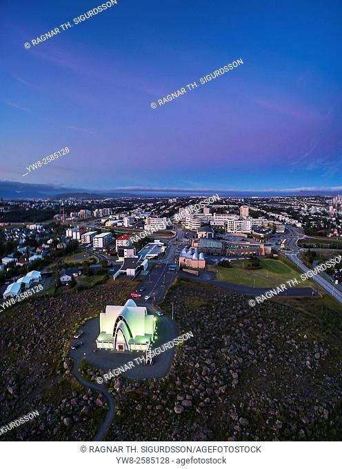Aerial of Kopavogur Church located in a suburb of Reykjavik Iceland. Image is shot using a drone