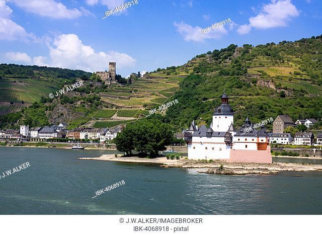 Pfalzgrafenstein Castle, former toll castle, behind Kaub and Gutenfels Castle, UNESCO World Heritage Upper Middle Rhine Valley, near St