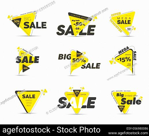 Templates of vector black and yellow triangular tags with percent discounts for big sale. Set of modern banners for mega special and seasonal offers