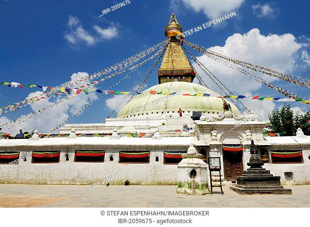 Stupa with prayer flags, Boudhanath, Kathmandu, Nepal, Asia
