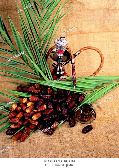 Arab traditions - sheesha, dried dates and tea