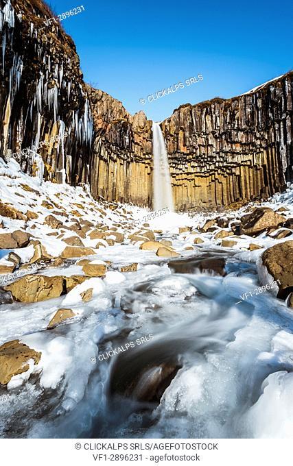Svartifoss waterfall in winter, Skaftafell national park, East Iceland, Iceland