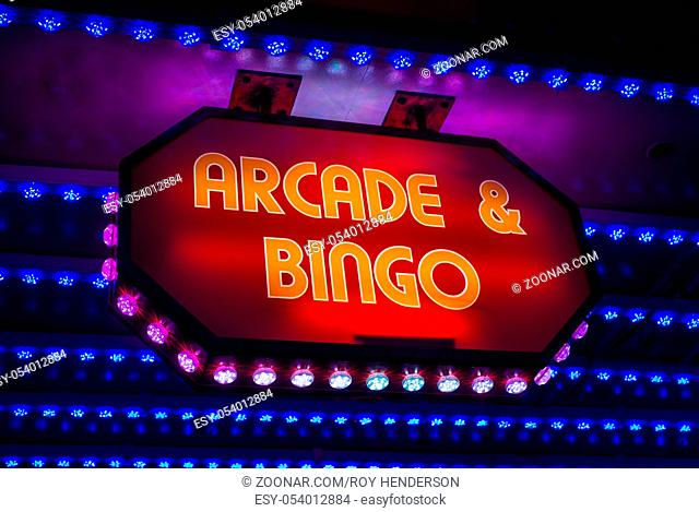 Retro Amusement Arcade And Bingo Sign On A Marquee In A British Seaside Resort