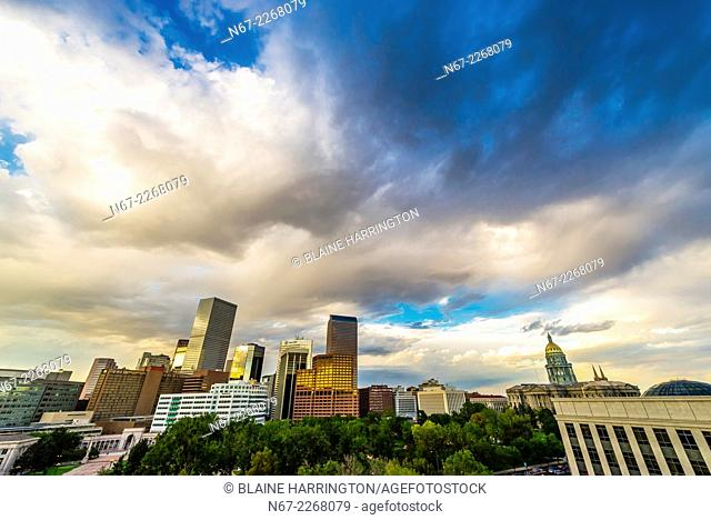 Skyline with Colorado State Capitol Building on right, Downtown Denver, Colorado USA