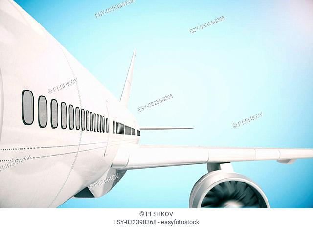 Closeup of airplane wind on blue background. 3D Rendering