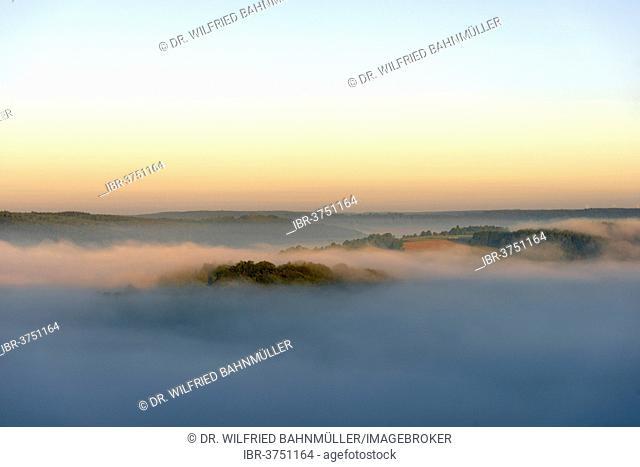 Altmuehl Valley with morning fog, Arnsberg, Kipfenberg, Upper Bavaria, Bavaria, Germany