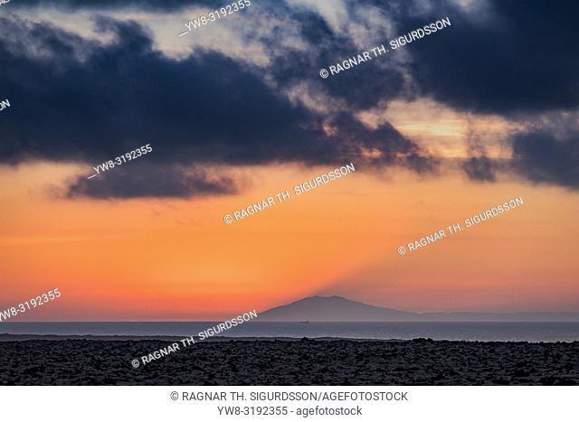 Sunset over Snaefellsjokull Glacier, Iceland