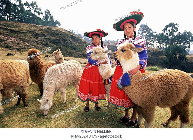 Portrait of two Peruvian girls in traditional dress, with their animals, near Cuzco, Peru, South America