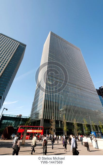 Office buildings in Canary Wharf,London,England,UK