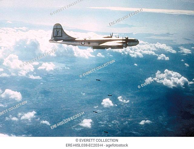 B-29 bombing a target in North Korea. Ca. 1950-51 during the Korean War. (BSLOC-2014-11-222)