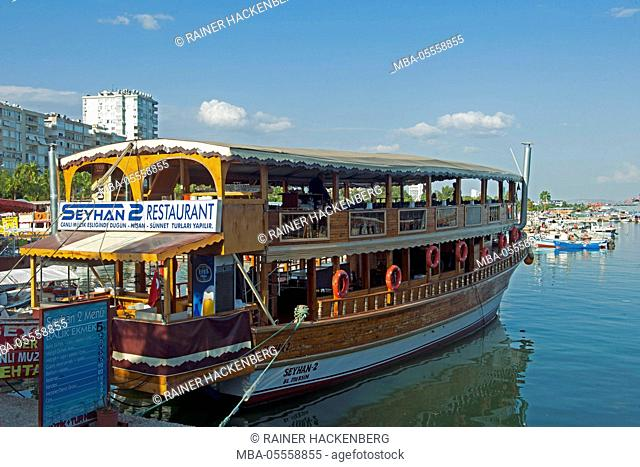 Turkey, Mersin, restaurant ship at the fishing harbour at the western end of the Atatürk park
