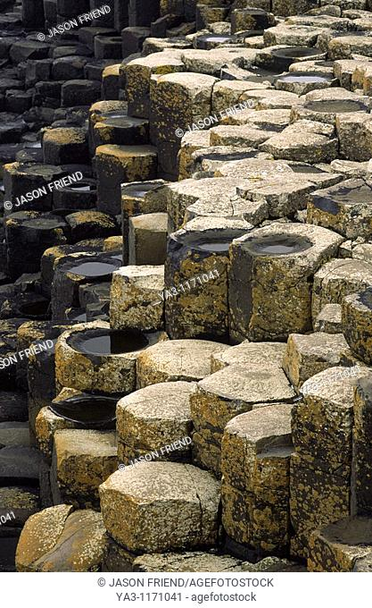 NORTHERN IRELAND, County Antrim, Giants Causeway  The hexagonal basalts rock formations of this world heritage site