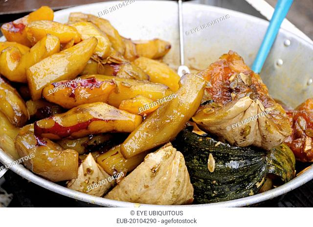 Bowl of candied squash and yam or camote