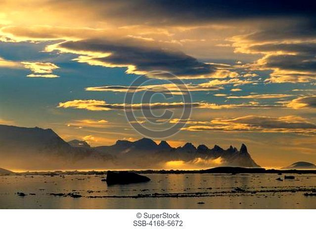 ANTARCTICA, PENINSULA AREA, VIEW OF LEMAIRE CHANNEL, EVENING LIGHT