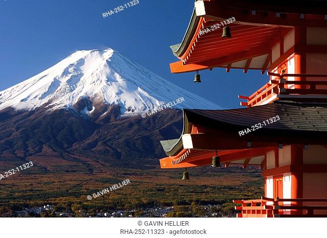 Mount Fuji capped in snow and the upper levels of a temple, Fuji-Hakone-Izu National Park, Central Honshu Chubu, Japan, Asia